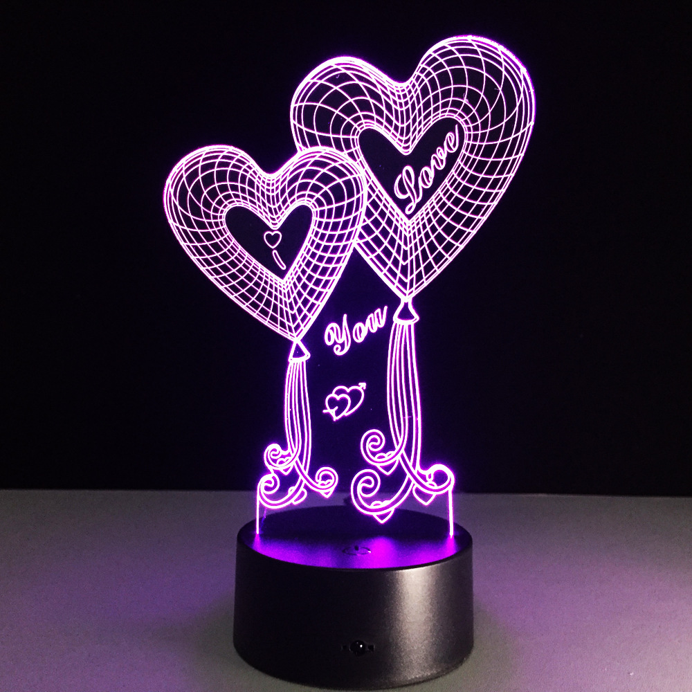 Novelty 3D Double Heart Night Light Remote Touch 7 Color Change LED USB Table Lamp Moon romantic Wedding Party Decor