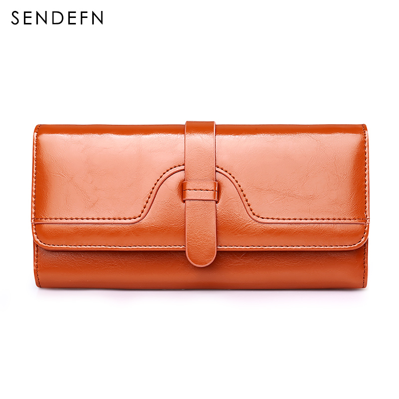 SENDEFN Unique Design Vintage Style Leather Women Wallet Long Lady Purse Card Holder Phone Pocket  Wallet Female 1 design laser cut white elegant pattern west cowboy style vintage wedding invitations card kit blank paper printing invitation