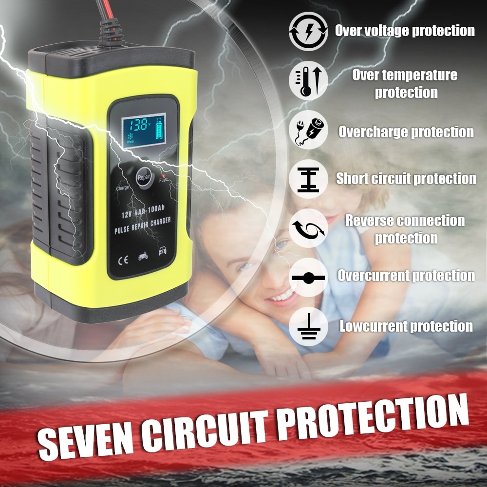 12V 6A Full Automatic Car Battery Charger Fast Power Charging Pulse Repair Chargers Wet Dry Lead Acid Digital LCD Display