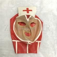 цена на new design fashion sexy exotic women female handmade latex red spliced hoods mask nurse maid style back zipper customize size