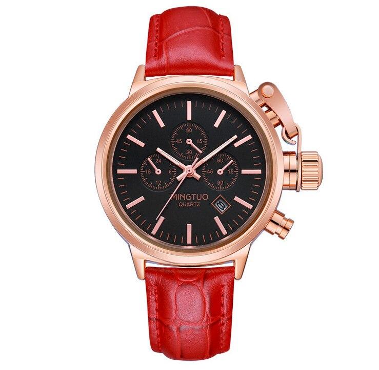 New Fashion Dekorativa Under-Dial Klockor Klockor Japan 2115 Quartz Studenter Läderarmband Armbandsur 6-hands Analog Relojes W073