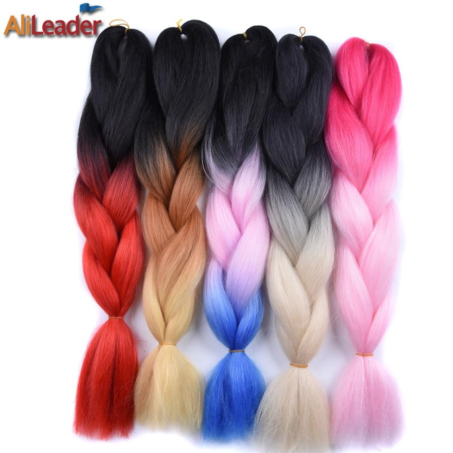 AliLeader 6Pcs/Lot Crochet Braids Red Blue Grey Silver Ombre Braiding Hair Synthetic Kanekalon Xpression Braiding Hair Crochet