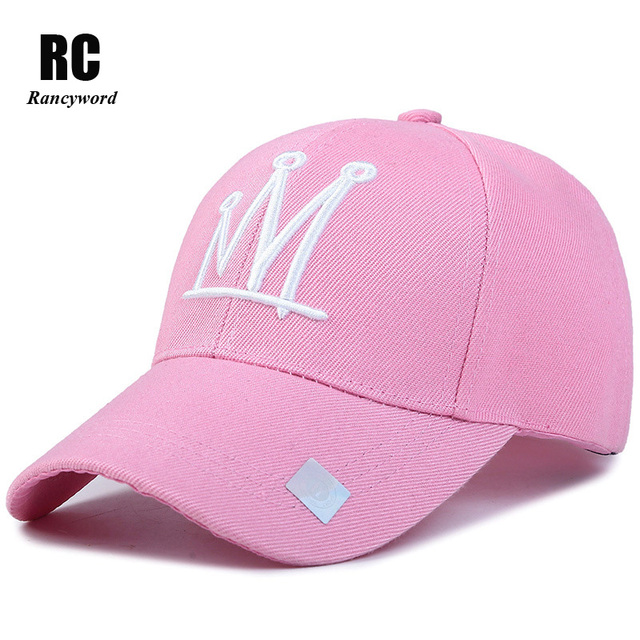 Rancyword  Cotton Embroidery Baseball Cap Men Women Solid Snapback Caps  Pink Hats Lady Crown c1b99ec7e90