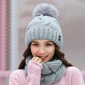 Image 3 - 2018 Winter Fashion Sequins Knitted Hat Scarf Set Pompom Beanies Hat For Women brand new thick skullies Warm neck female cap