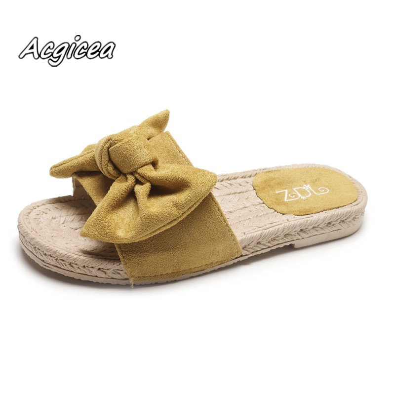 Summer new sandals slippers flat students casual wear women's slippers flowers bow suede soft bottom women sandals f058 women camouflage herringbone slippers massage bottom sandals