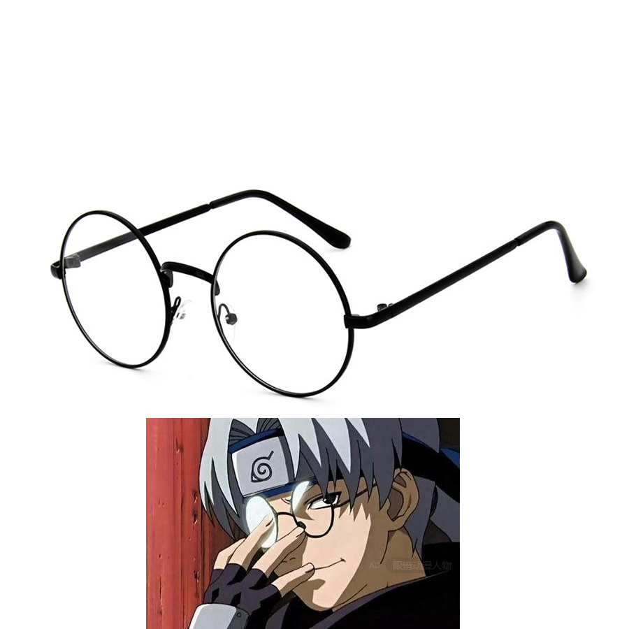 Biamoxer Cosplay Glasses NARUTO Yakushi Kabuto Cosplay Round Frame Normal Glasses Black Color Also Have Other Colors CS100