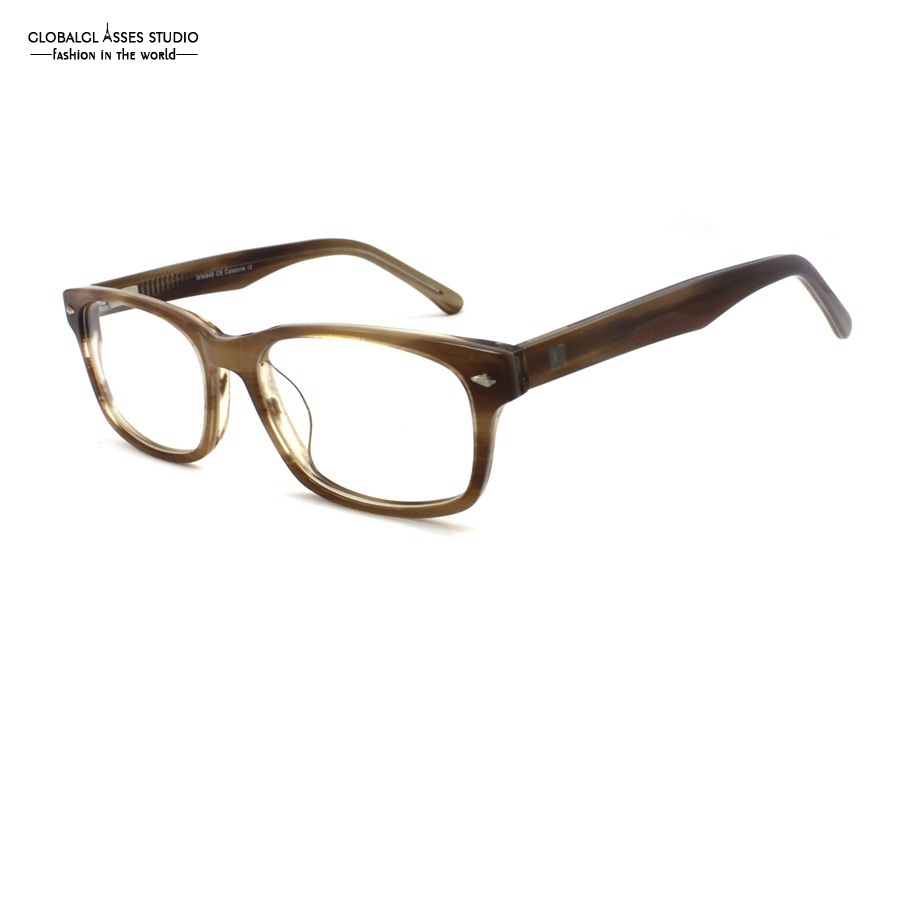 Wholesale Big Square Lens Brand Designer Acetate Frame Women Men Light Brown Color Flex Hinge Popular Spectacle Glasses WW946 C8