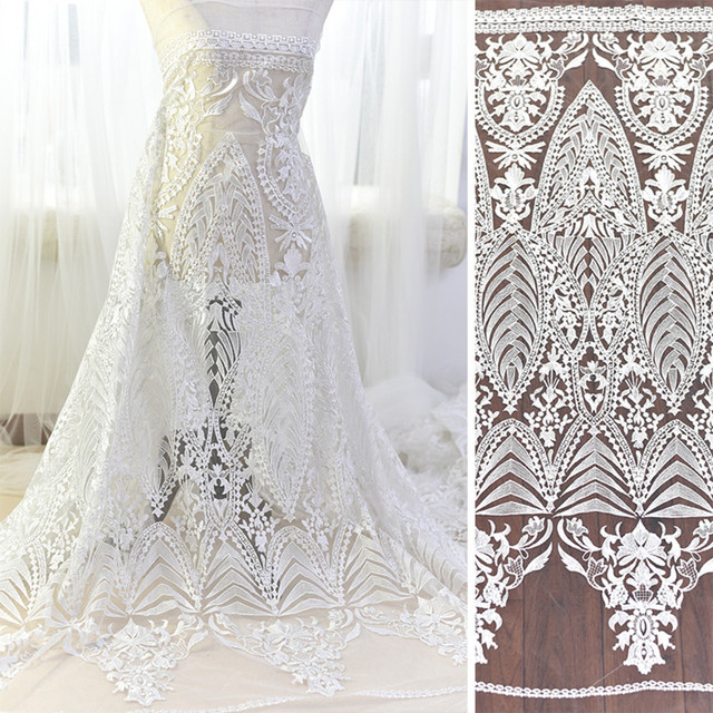 1Yard Wedding Dress Fabric White Embroidery Mesh Net African Lace ...