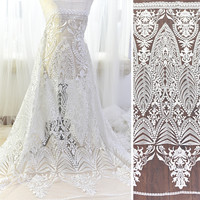1Yard Wedding Dress Fabric White Embroidery Mesh Net African Lace Evening Dresses Clothes Sewing Fabric Material Patchwork Diy