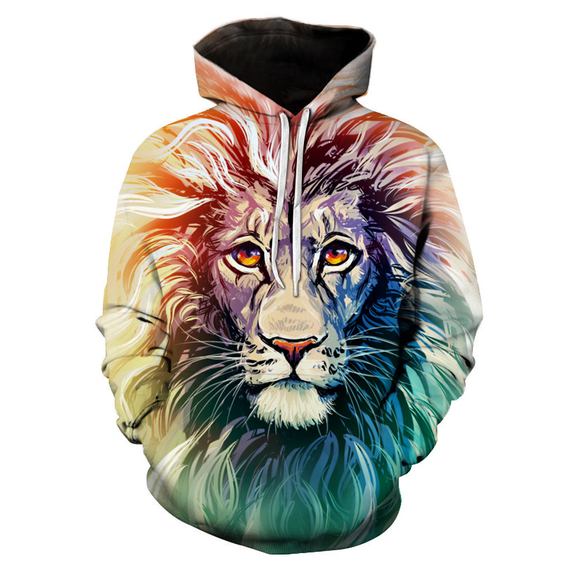 New Fashion Men/Women 3d Sweatshirts  Flowers Lion Hoodies Autumn Winter Thin Hooded Pullovers Tops