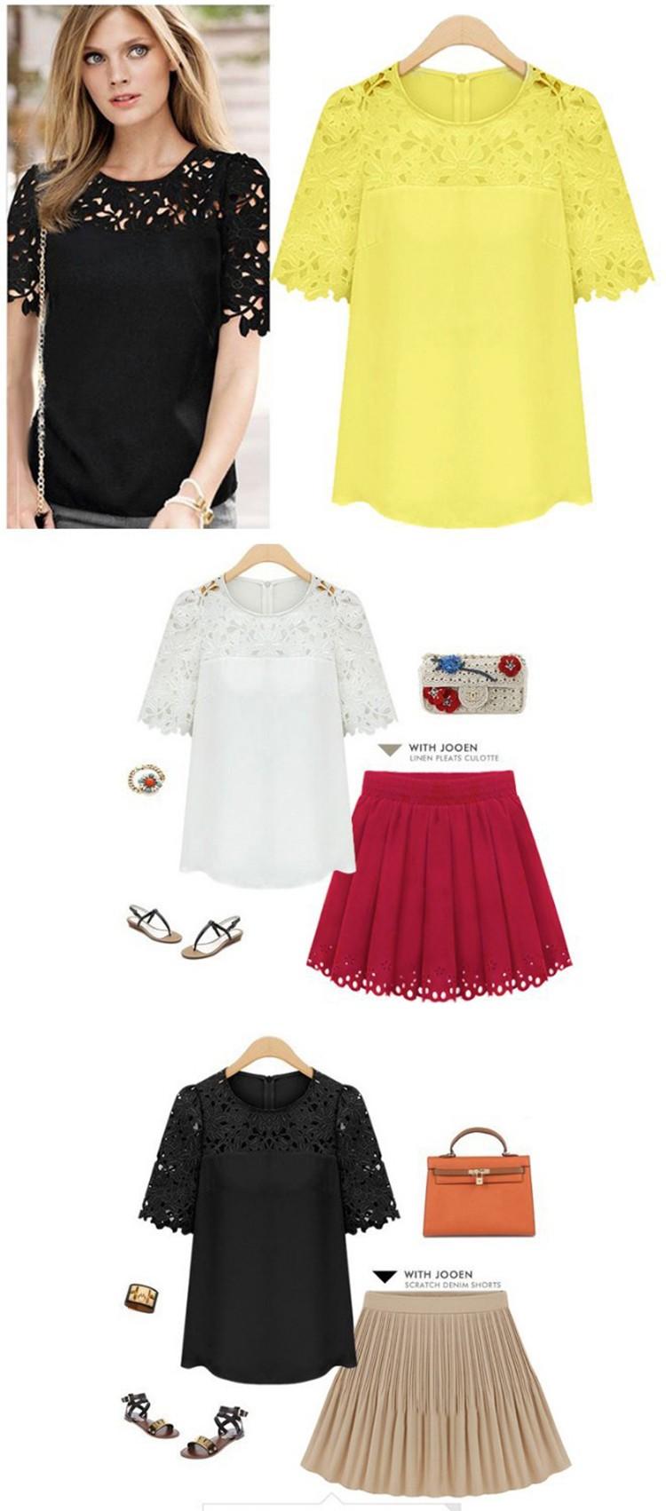 HTB1MMX LVXXXXa9XpXXq6xXFXXXQ - Women Clothing Summer Feminine Short Sleeve Chiffon Blouse