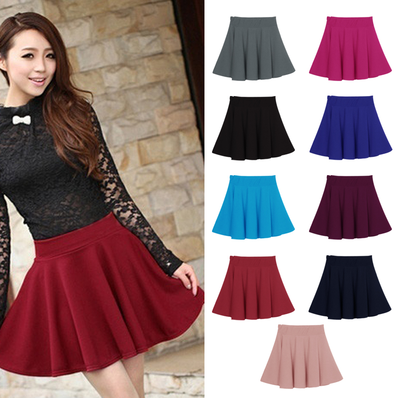 New Women Skirt Sexy Mini Short Skirt Fall Skirts Womens Stretch High Waist Pleated Tutu Skirt