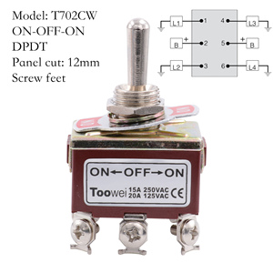 Image 3 - TOOWEI SPST DPDT DPST SPDT Toggle Switch ON ON ON OFF ON ON OFF AC Power Rocker Switch AC 250V 15A 125V 20A