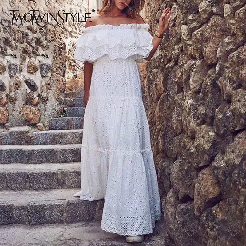TWOTWINSTYLE Elegant Hollow Out Women Dress Slash Neck Off Shoulder Puff Sleeve High Waist Slim Maxi