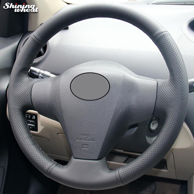 Shining wheat Black Genuine Leather Steering Wheel Cover for Toyota Yaris Vios RAV4 2006-2009