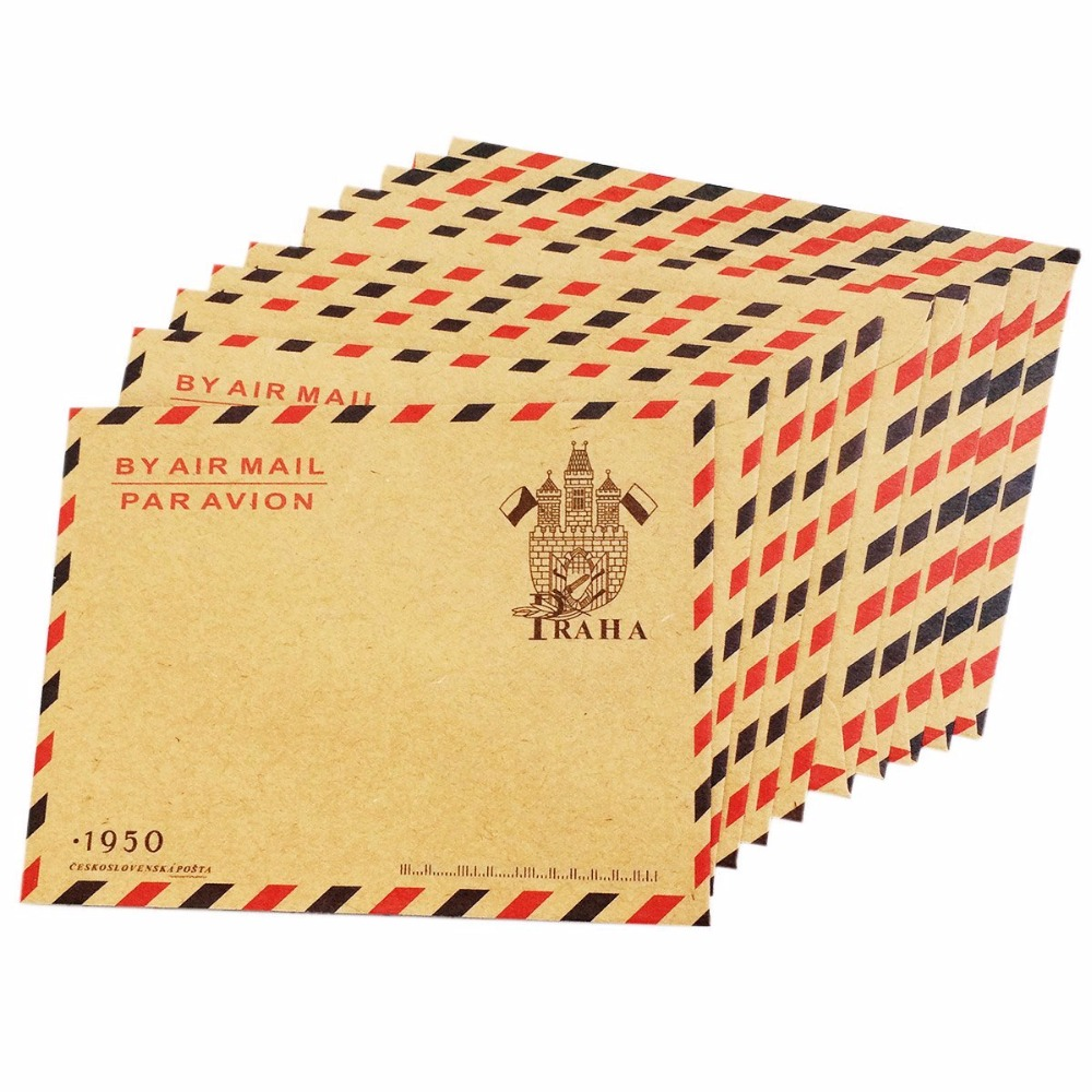 10pcs Open End Vintage Kraft Paper Envelopes Invitation Letter Envelopes Airmail Stationery For Letters,invitation Letter