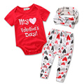 Valentine Gift Cotton Baby's Clothing Set Summer Print LOVE 3pcs Tops+Pants+Hairband for 0-2 Infant Toddlers Jumpsuit Romper