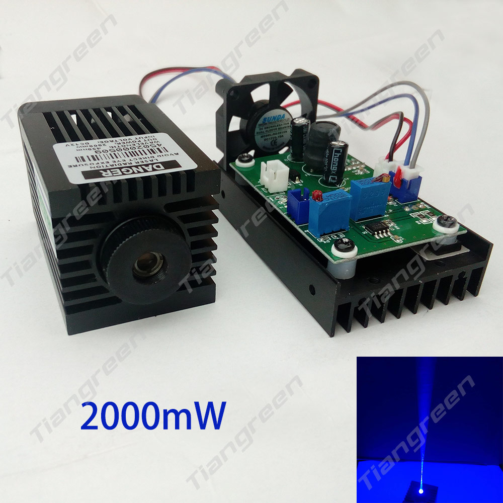 New Arrival 450nm Laser Diode 445nm Blue Laser Module 2W 2000mW Laser Cut DIY Lighting Machine Focusable CNC Laser