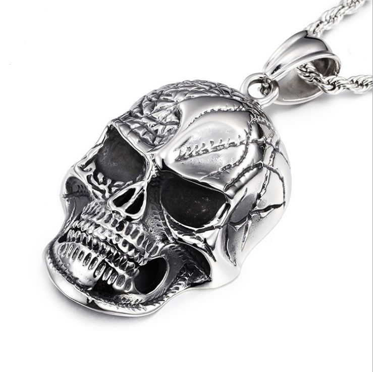 Retro Punk Gothic Style Titanium Stainless Steel Biker Skeleton Big Skull Pendants Necklaces for Men Jewelry Holiday Gifts