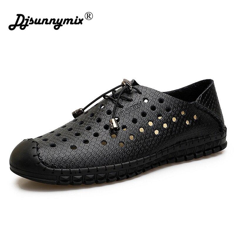 DJSUNNYMIX Men Sandals Summer Hollow Breathable Genuine Leather Sandals For Men