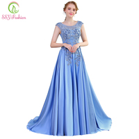 SSYFashion New Luxury Satin Long Evening Dress The Bride Banquet Sleeveless Lace Flower Beading Prom Formal