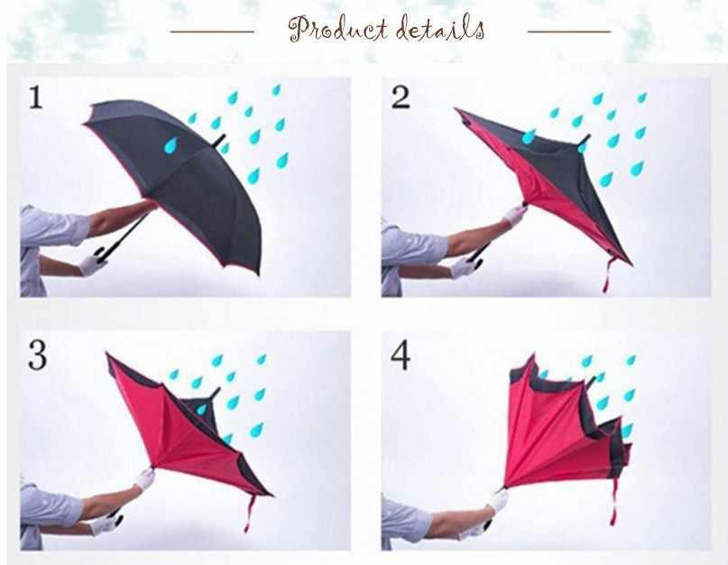 Ветронепроницаемый двухсторонний складной двуслойный перевернутый зонтик самостоящий зонтик дождевик для женщин высокого качества 2018 прочный S1007