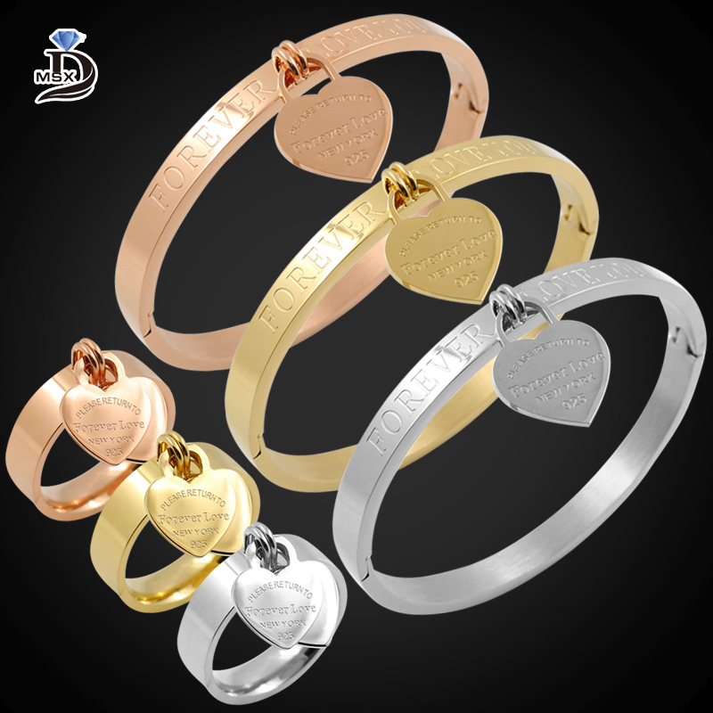 2017 New Forever Love Rose Gold Heart Charm Bangle Bracelet For Women Vintage Stainless Steel Female bangle Jewelry pulseira