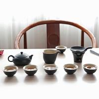 Black Pottery China Kung Fu Tea Antique Set Home Tea House Hotel China Kung Fu Tea Set Business Gift Ceramic Product Black