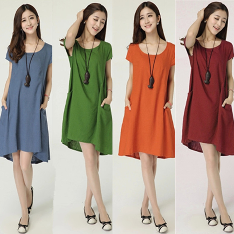 3029# Linen Maternity Dresses with Pocket Plus Size Loose ...