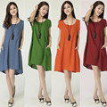 3029# Linen Maternity Dresses with Pocket Plus Size Loose Clothes for Pregnant Women 2015 New Summer Pregnancy Clothing