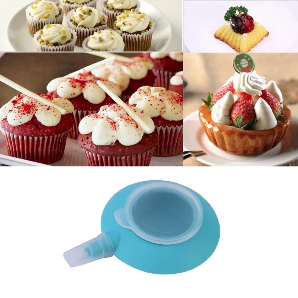 1 Set Blue Silicone Cake Dessert Macaron Pot for Pen Cream Cake Muffin Dessert Decorating Baking Mold Pen Tools 4 Nozzles