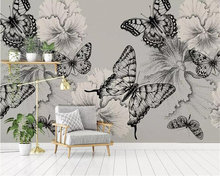 beibehang personality silk material 3d wallpaper  hand-painted Black and white butterfly flower TV background wall