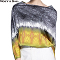 Moet &She High Quality Silk Womens Clothing Half Sleeve Batwing Slash Neck Vintage Print  Ladies Shirt Blouse Tops T68202R