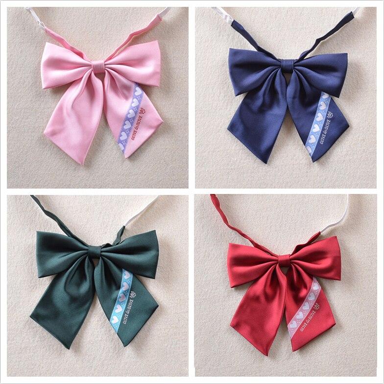 Nette Frauen Reine Farbe Britischen Japanischen Schule Mädchen Jk Gleichmäßig Lange Bowknot Krawatte Studenten Krawatte Cosplay Lolita 10 Farben Bekleidung Zubehör