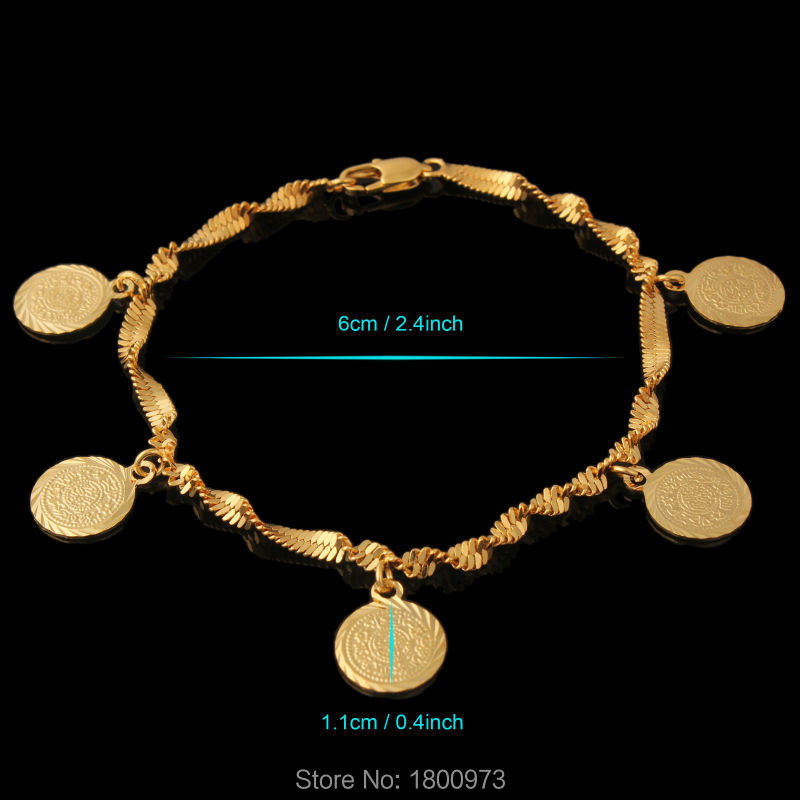 Wholesale Coin Money Sign Arabic Jewelry Great Gifts18K Gold Color Muslim Islamic Charm Bracelets For Women