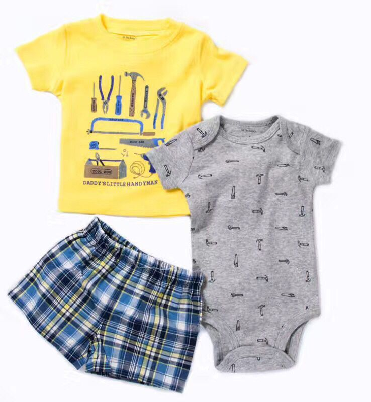 New 2017 Retail Children Cottom Set Cartoon Print fashion T-shirt suit boys sets t-shirt+pant 3pcs Kids Summer Clothing