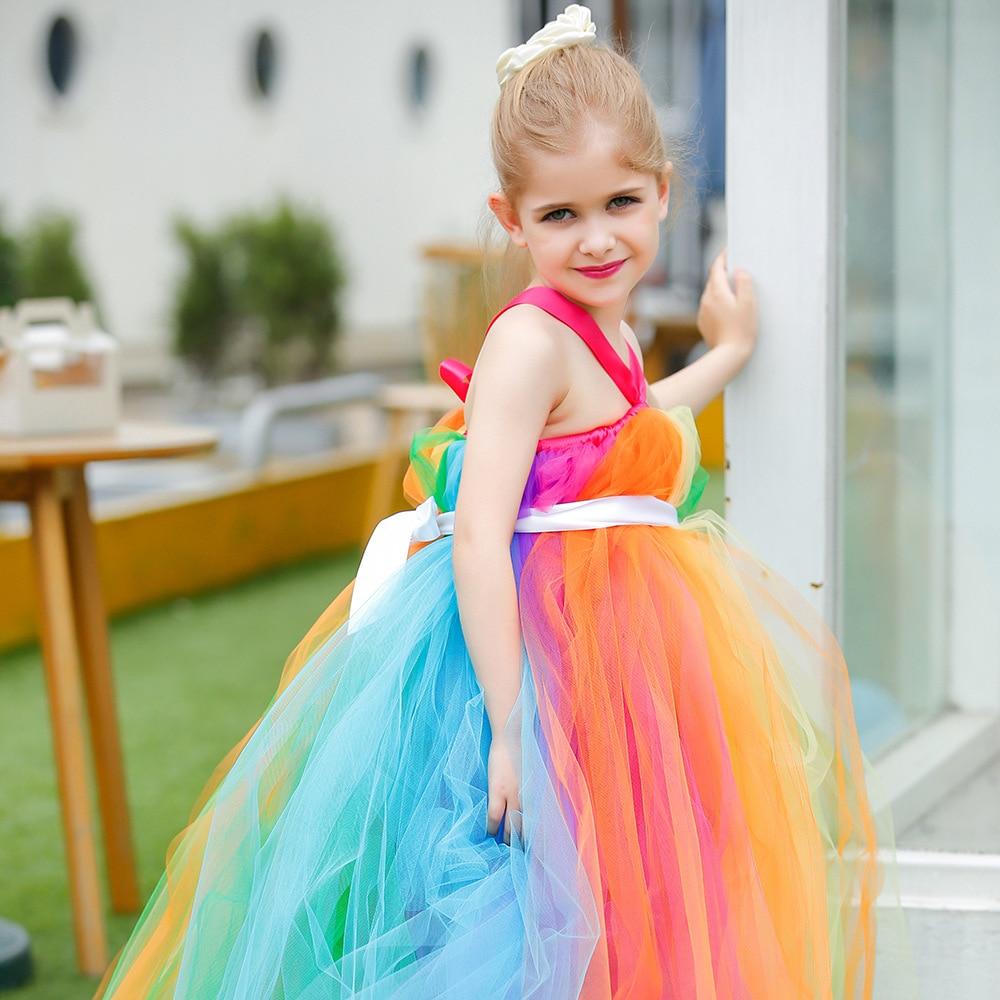 Rainbow Color Girls Långa Tutu-klänningar Barn Handgjorda fluffiga Tulle Tutusbollklänning med band midja Barn Bröllopsklänning