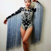 Fringed Crystals Women Outfit Jazz Costume Rhinestone Sexy Bodysuit Black Singer Dancer Nightclub Stag Party Prom Jumpsuit DJ210