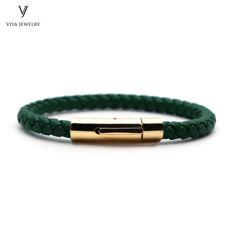 Fashion Green Cow Leather Men Bracelet Simple Spring Button Clasp Bracelet For Men Charm Cowhide Leather Bracelets Best Men Gift men button