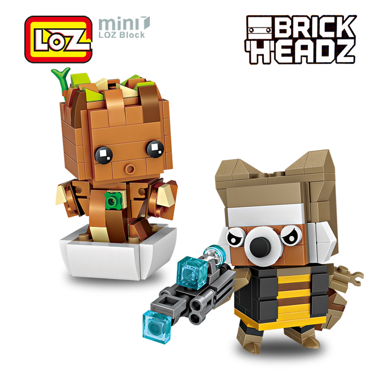 LOZ Treant Rocket Racoon Guardians Galaxy flowerpot baby Action Figure Toy Model Mini Building Blocks Brick Head For Ages 6+