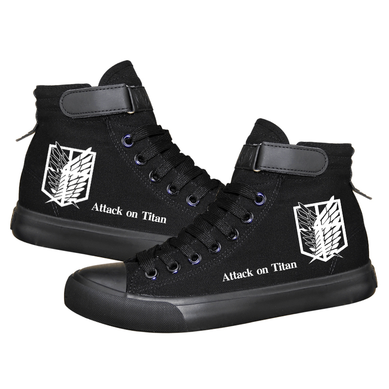 2018 Attack on Titan cosplay Canvas boots Shingeki no Kyojin Daily Boots Mens High-top Vulcanized Print Anti-slip Shoes A51408 attack on titan shingeki no kyojin gold color fashion leisure canvas college winds man woman backpacks high capacity schoolbag