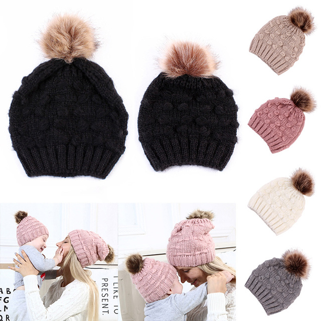 4f7bb2935b7 Mom and Me Cute Warm Hats Winter Wool Hat Crochet Knit Beanie Fur Pom Pom Hat  Baby Boys Girls Cap Mom and Baby Matching Cap