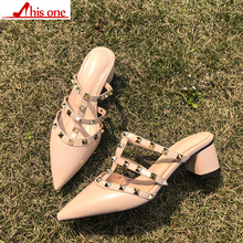 цены Free shipping 2018 summer Thick heel sandals Rivet pointed heel with shoes nude with a pair of shoes with Pointed women's shoes