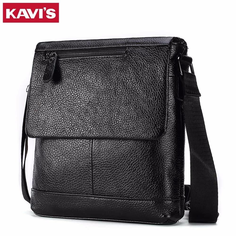 KAVIS Genuine Leather Messenger Bag Men Shoulder Crossbody Handbag Male Small Luxury brand Obag Bolsas Sac Sling Chest Briefcas