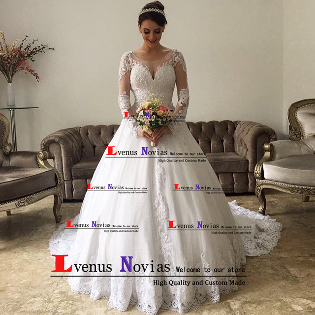 d2f57cd130c4f Vestidos de novia Elegant Lace Dubai Wedding Dress Long Sleeve Sexy Robe de  Mariage Vintage Wedding