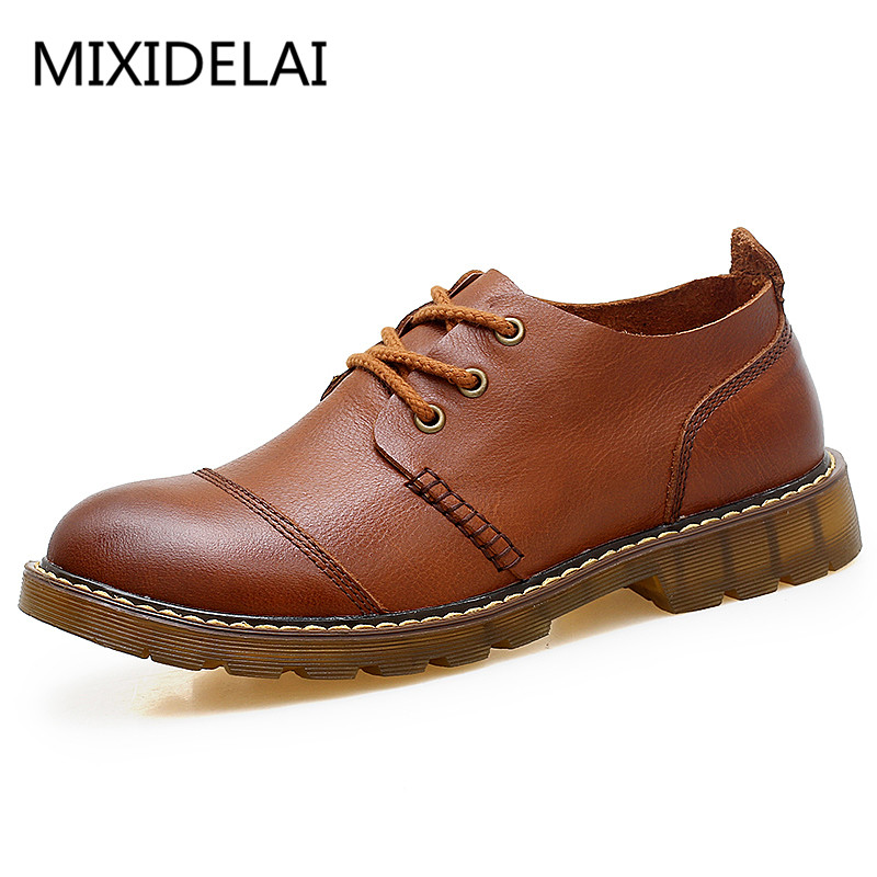 Men Leather Shoes Casual New 2017 Genuine Leather Shoes Men Oxford Fashion Lace Up Dress Shoes Outdoor Work Shoe Sapatos genuine leather oxfords shoes men flats casual new lace up shoes men oxford fashion dress shoes work shoe sapatos big size 47 48