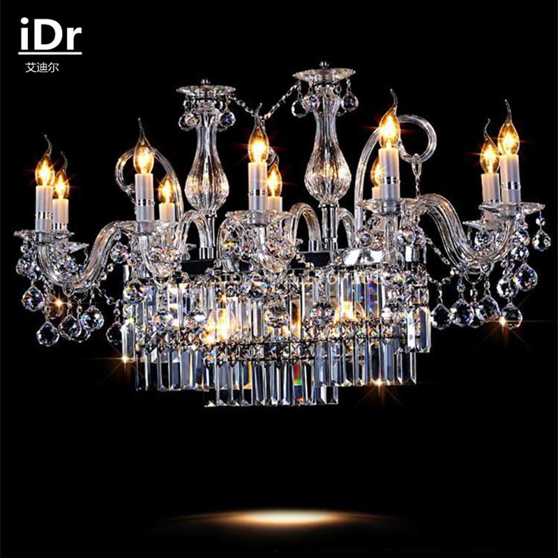 living room led lamps European-style rectangular dining crystal candle chandelier factory outlets free delivery free shipping white blue chandelier living room candle lamps luxury acrylic crystal chandelier lights ac 100% guaranteed