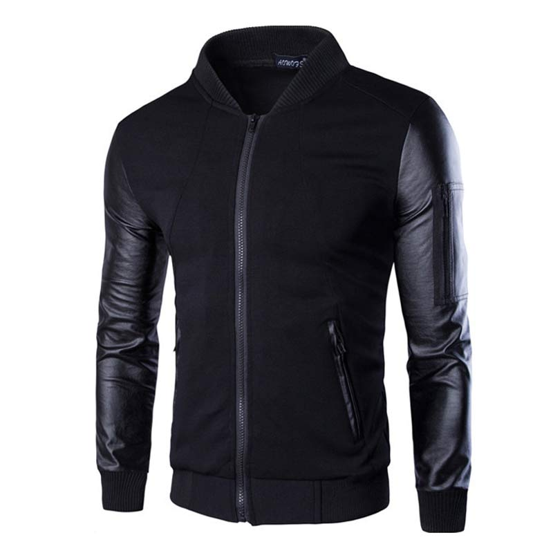 Online Get Cheap Black Leather Sleeve Bomber Jacket -Aliexpress ...