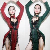2018 Red Jazz Dance Costumes For Lady Women Bar Dj Dancers Dress Stage Hip hop Clothing Sexy Show Newest Singer Dress I319