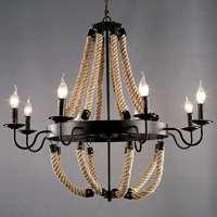 Phong Cách Loft Công Nghiệp Mỹ 6 Ánh Sáng cơ thể Màu Đen gai Dây Pendant Nhẹ Living Room Lamp Cafe/Bar Đèn Đèn led trắng ấm bóng đèn